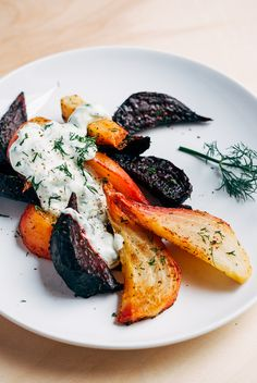 Roasted Beet Wedges with Herbed Green Onion Tzatziki by brooklynsupper #Beets #Tzatziki