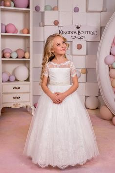 259bd5be4a SIMPLE BUT NICE Ivory Lace Flower Girl Dress Bridesmaid by  KingdomBoutiqueUA Ivory Flower Girl Dresses
