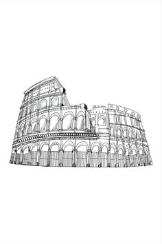 Rome, Outline Drawings, Black And White Wall Art, Digital Wall, City Art, Decoration, All Print, Wall Decor, Unique Jewelry