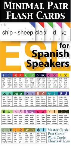 This 22 card set targets the most problematic pronunciation issues for Spanish speakers of English as a second language.