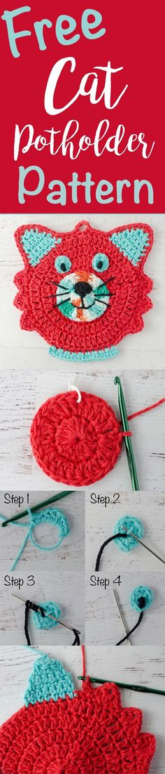 So stinking cute!  Crochet cat potholder pattern!  And it's free!