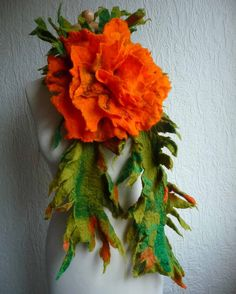 felted scarf with flower  brooch, handmade, felt, wrap, green, orange, spiky, lagenlook, made to order. £50.00, via Etsy.