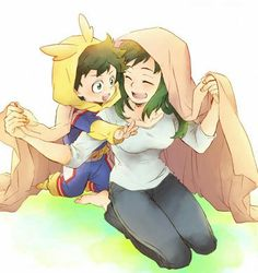 Izuku, Inko, Midoriya family, mother, mom, cute, All Might, cosplay, costume, outfit, young, childhood, laughing; My Hero Academia