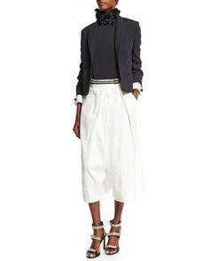 Brunello Cucinelli Lace-Cuff One-Button Blazer, Cap-Sleeve Striped Metallic Pullover & Wide-Leg Fold-Over Culottes