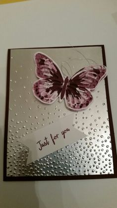 Stampin up Watercolor Wings. I used the Softly Falling Textured Impressions Embossing Folder and the Triple Banner Punch.