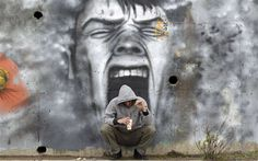 Greek street art,Graffiti covered walls paint the streets of Greece. A woman walks past an abandoned building covered with graffiti in Athens, 3d Street Art, Amazing Street Art, Amazing Art, Graffiti Art, Tiers Monde, Urbane Kunst, Strange Photos, Chalk Art, Painting Art