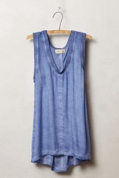8d577c58b646b7 LAST CALL Anthro blue tank Anthropologie blue silky tank with ribbing  around the sleeves and neckline. Brand is Cloth   Stone.
