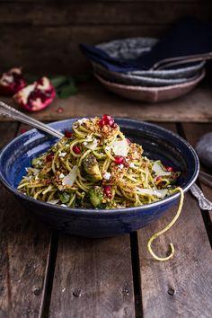 Manchego Brussels Sprout + Prosciutto Spaghetti w/Brown Butter Pistachio Pangrattato | halfbakedharvest.com @hbharvest