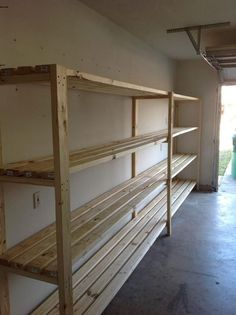 Take down current shelves in garage and build something like this along far wall to hold all the small stuff? Hang large gardening tools along side walls. Glass Shelves Kitchen, Floating Shelves, Bookcase, Home Decor, Homemade Home Decor, Shelves, Floating Bookshelves, Bookcases, Interior Design
