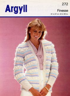 Ladies cardigan knitting pattern for mohair yarn Argyll patterns 272. Idea for variegated mohair if there isn't enough of it - mix with plain Colours that March those in it.