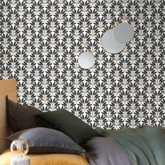 Fun Art Deco inspired tropical tree pattern.  White, black & Gold.  Amusant motif de plantes tropicales inspiré du style Art Déco.  Blanc, noir et or. Moonlight, Art Deco, Pattern, Motifs, Collection, Bedroom, Fun, Black, Design