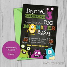 Monster Party Invite, Monster Invitation, Cute Monsters by FoxyLoxyDesign on Etsy Monster Invitations, Printable Invitations, Party Invitations, Invite, Cute Monsters, Monster Party, Rsvp, Etsy