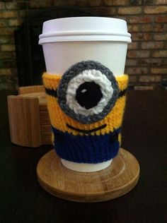 Hand Knitted Minion Despicable Me Coffee or by NiftyNookDesigns