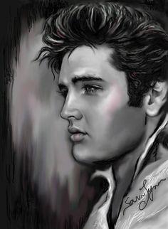 art work by Sara Lynn Sanders - Elvis presley fan page elvis foreveryone Elvis Tattoo, Elvis Presley Pictures, King Elvis Presley, Elvis Quotes, Lisa Marie Presley, Celebrity Portraits, Celebrity Drawings, Graceland, Tarzan