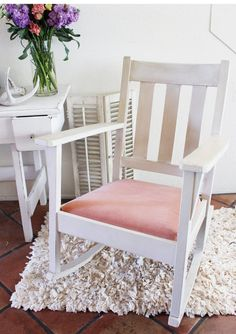 Vintage Rocking Chair White Pink Nursery Shabby by RecaptureBeauty
