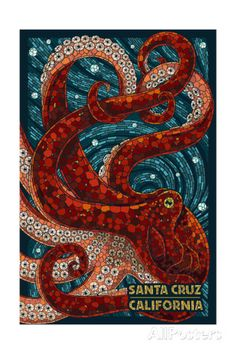Santa Cruz, California - Octopus Mosaic Kunstdrucke von Lantern Press bei AllPosters.de