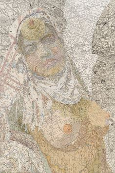 jezebel - matthew cusick, 2012 [maps on panel; link to matthew cusick's website + other 'map works']