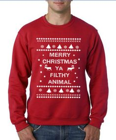 """""""Merry Christmas Ya Filthy Animal"""" Christmas Sweater from Octobella inspired by the movie Home Alone. Great for an ugly christmas sweater party, or as a gift for someone! We think this is so clever. #scottsmarketplace"""
