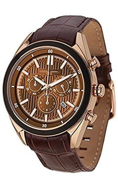 Jorg Gray Men's Quartz Watch with Brown Dial Chronograph Display and Brown Leather Strap JG6900-21