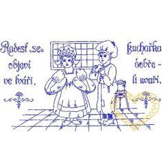 Nástěnná kuchařka - Radost se objeví ve tváři Afghan Crochet Patterns, European Countries, Embroidery Ideas, Czech Republic, Aprons, Ideas, Needlepoint, Apron Designs, Apron