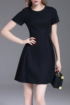 Daipya Black A Line Mini Polka Dot Dress | Mini Dresses at DEZZAL