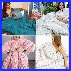 New Fashion Hand Chunky Knitted Blanket Thick Yarn Merino Wool Bulky Knitting Throw Photograph props Good Gift
