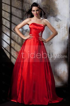 Elegant Strapless Floor-Length A-Line Ruffles&Beadings Polina's Prom/Evening Dress : Tidebuy.com