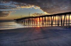 "Virginia Beach Sunrise 17th street pier   barely made it through ""Gloria"""