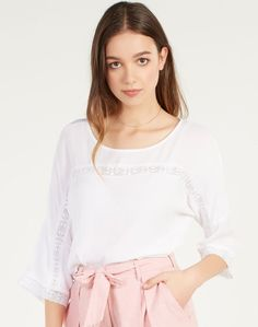 Shop and buy the latest in women's fashion and clothing online at Glassons.com. Check out this Crochet Blouse - A three quarter sleeve blouse featuring a crochet insert, perfect for the warmer weather paired with high waisted shorts and flats.