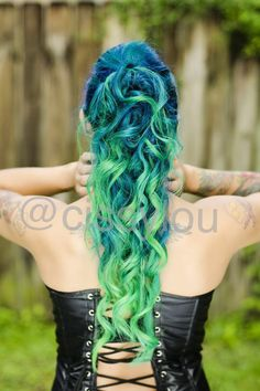 Pravana green, blue, neon green. Not usually drawn to green hair but this is beautiful.