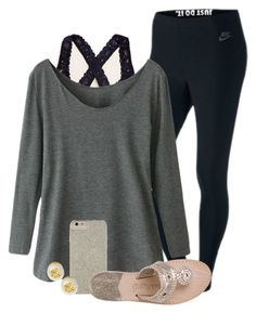 """Lazy ootd// mood ="" by madelyn-abigail ❤ liked on Polyvore featuring NIKE, Aerie, Case-Mate, Jack Rogers and Tory Burch"