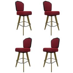 Set Four Swivel Bar Stools