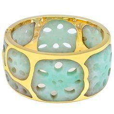 Tiffany & Co. Lotus Root Jade Gold Cuff by Angela Cummings | 1stdibs.com