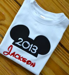 Mickey Ears Personalized Appliqued Shirt by 2girlsnme on Etsy, $15.00