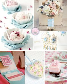 A Pink and Blue Summer Wedding with Roses Inspiration Board