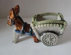 Little Donkey & Cart Vintage Porcelain  Colorful Figural Flower Pot/Dish