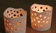 translucent porcelain tealight candle holder by AliinTo,
