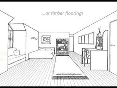 how to draw a bedroom using one point perspective