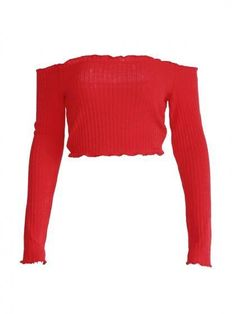 a800e04305690b Red Off Shoulder Frill Trim Long Sleeve Ribbed Crop Top