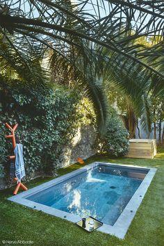 Un bassin au ras de la pelouse et tout en béton -A basin level with the lawn and…