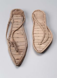 Egypt - Greco-Roman Period 605–30 B.C. - a) plain matwork sandal with thong, some damage to sole b) plain matwork sandal, perfect condition