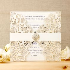 Intricate Pearlised Cream Orchid Laser Cut Gatefold Wedding Evening Invitation with shimmering ribbon Laser Cut Wedding Stationery, Invitation Envelopes, Floral Motif, Card Sizes, Laser Cutting, Special Day, Orchids, Print Design, How To Memorize Things