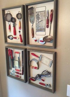 Love this idea for my old kitchen utensils! - Love this idea for my old kitchen utensils! Old Kitchen, Kitchen Redo, Country Kitchen, Kitchen Display, Primitive Kitchen, Antique Kitchen Decor, Red Kitchen Decor, Kitchen Decorations, Kitchen Wall Art