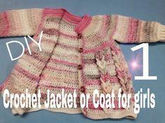 Crochet Patterns Jacket Crochet Coat / Crochet Jacket for all sizes – H … Crochet Coat, Crochet Jacket, Crochet Baby, Crochet Designs, Crochet Patterns, Jacket Pattern, Loom Knitting, Girls Dresses, Sweaters