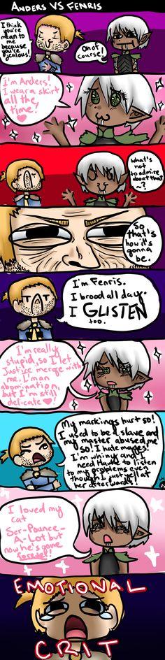 Anders vs Fenris - Dragon Age 2  Aww...I miss Ser-Pounce-Alot...Fenris went too far