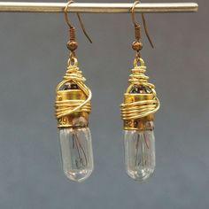 brass upcycled light bulb earrings
