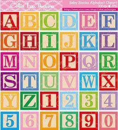 Digital Alphabet Letters ClipartBright Block LettersBaby Blocks