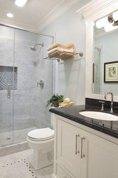 Guest Bath - traditional - bathroom - san francisco - Arch Studio, Inc. | Black marble countertop and Carrera Marble shower tiles