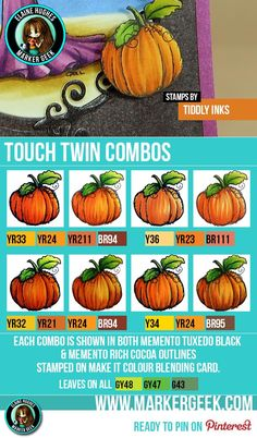 Pumpkin colour combination suggestions for Copic Markers and ShinHan Touch Twin Markers. Featuring a cute pumpkin stamp from Tiddly Inks.