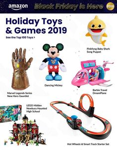 Amazon Black Friday Ad Scan, Deals and Sales 2019 The Amazon 2019 Black Friday ad is here! Be sure to subscribe to our newsletter to receive emails about all the latest Black Friday news and ad leaks ... #blackfriday #amazon Amazon Black Friday, Black Friday Ads, Baby Shark Dance, Friday News, Marvel Legends Series, Hot Wheels, Mickey Mouse, Lego, Songs
